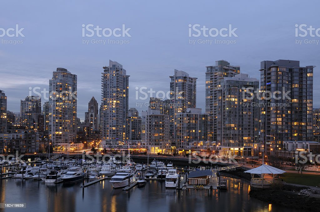 Downtown Vancouver (Yaletown) and False Creek royalty-free stock photo