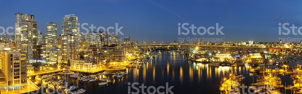 Downtown Vancouver and Granville Bridge panorama royalty-free stock photo
