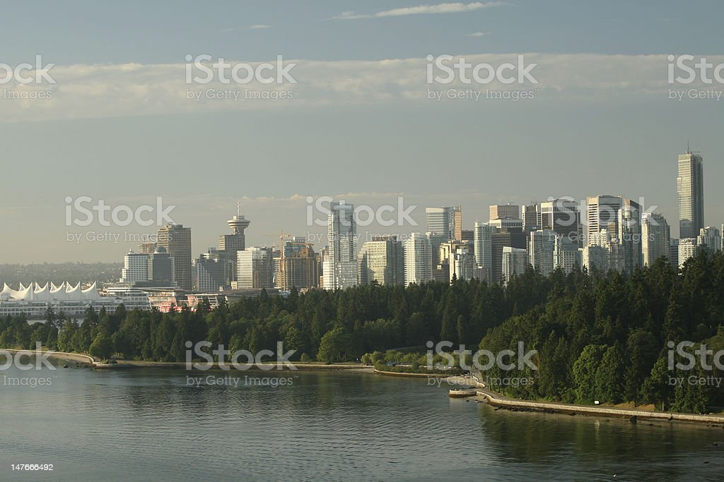 Downtown Vancouver and Stanley Park stock photo