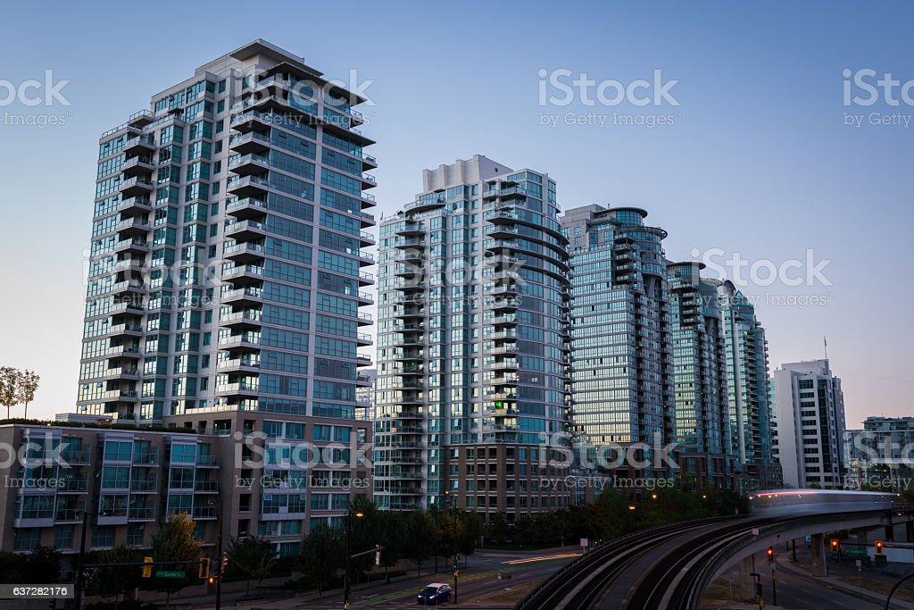 Downtown Vancouver at dusk stock photo