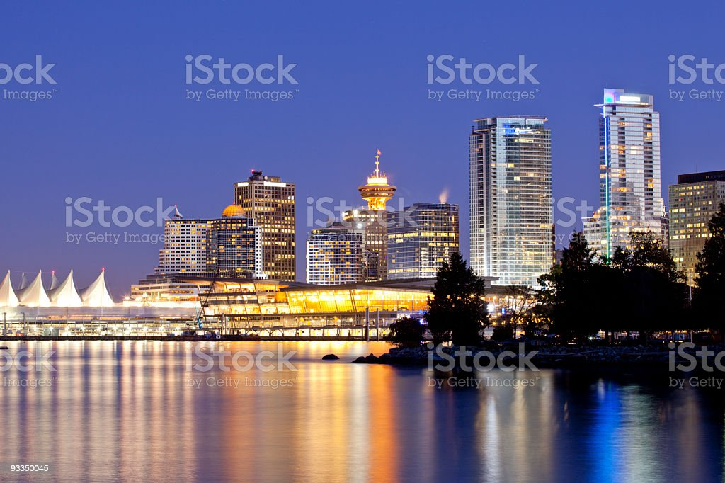 Downtown Vancouver at Night stock photo