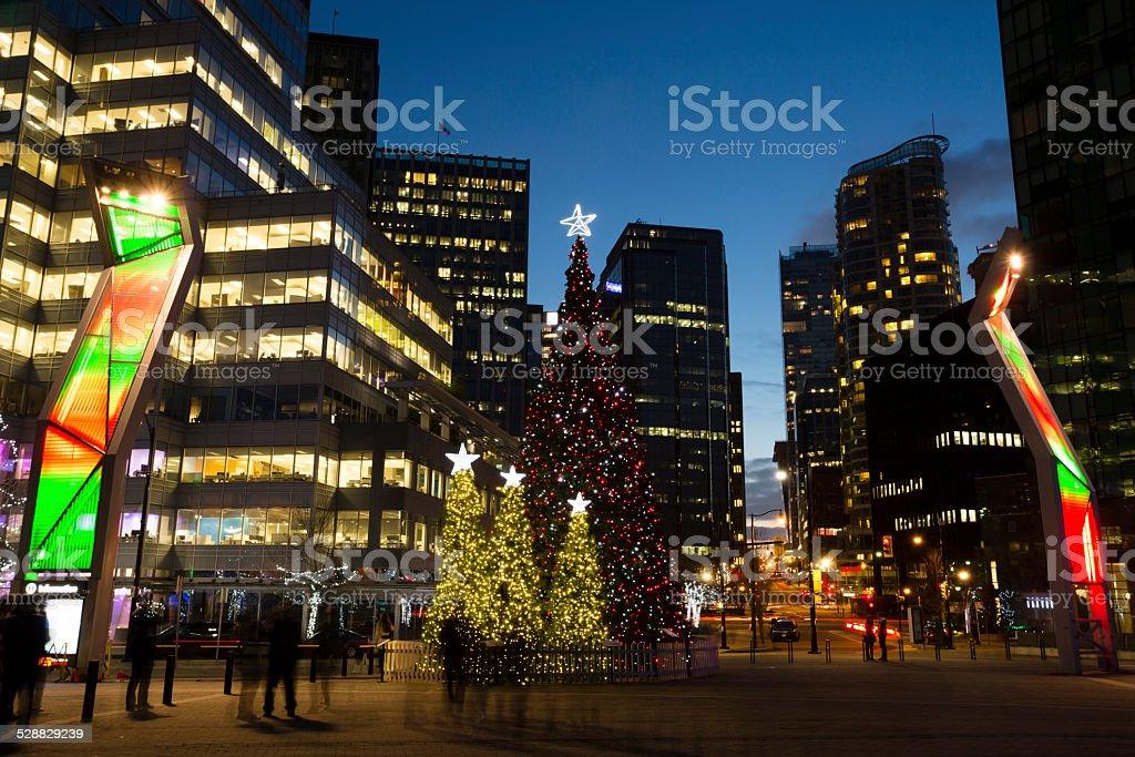 Downtown Vancouver Christmas Tree stock photo