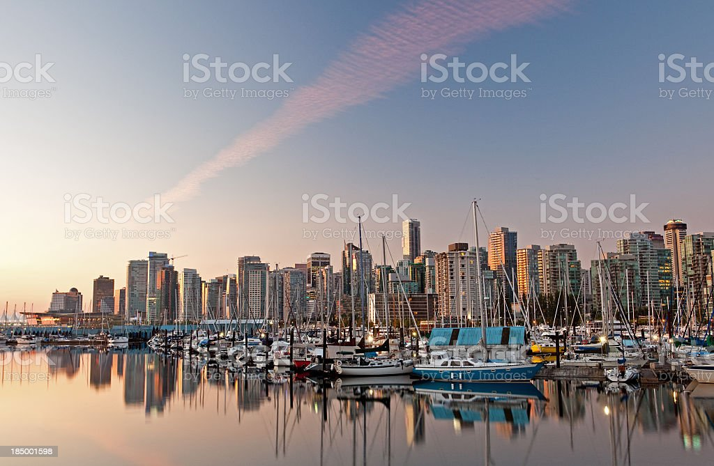 Downtown Vancouver from Coal Harbour stock photo