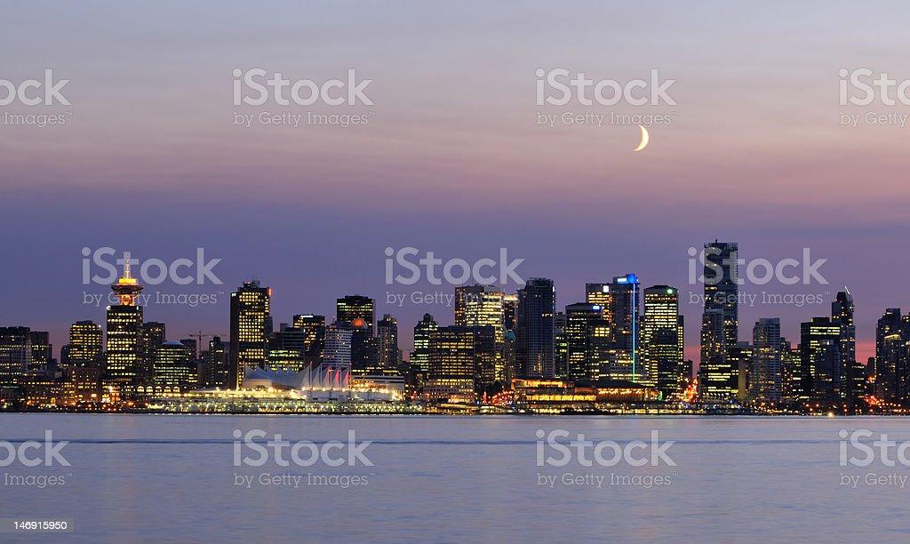 downtown vancouver night scene stock photo