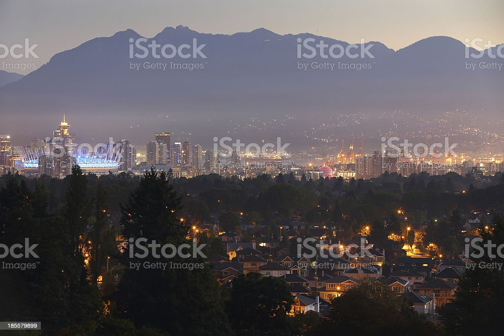 Downtown Vancouver Twilight Dawn Cityscape stock photo