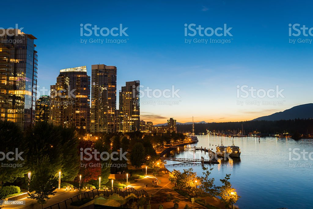 Downtown Vancouver Waterfront at dusk stock photo