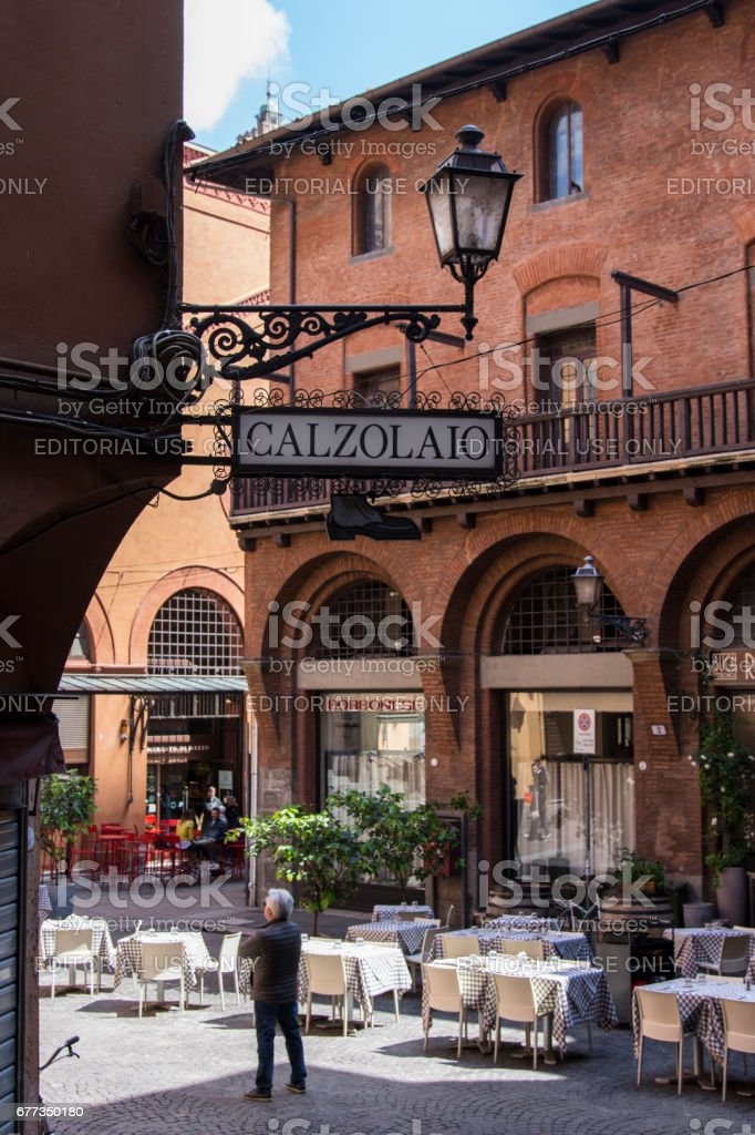 A downtown view of Bologna stock photo