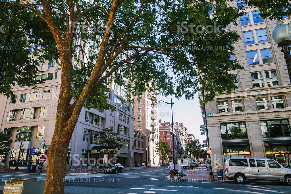 Downtown Washington DC, on the autumn street. stock photo