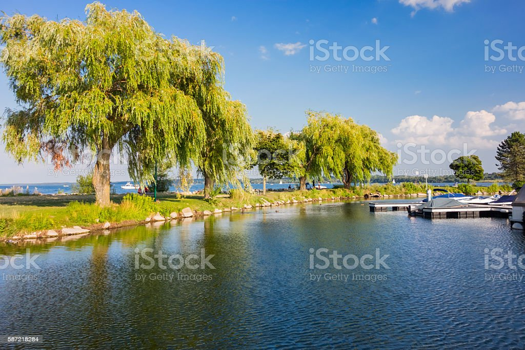 Downtown Waterfront Park and Marina in Barrie Ontario Canada stock photo