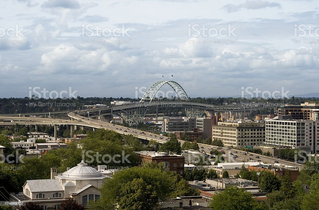 Downtown West Side Portland Oregon Fremont Bridge stock photo