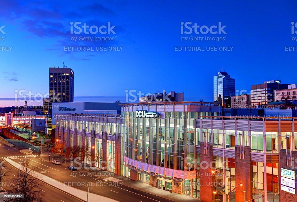 Downtown Worcester Massachusetts stock photo
