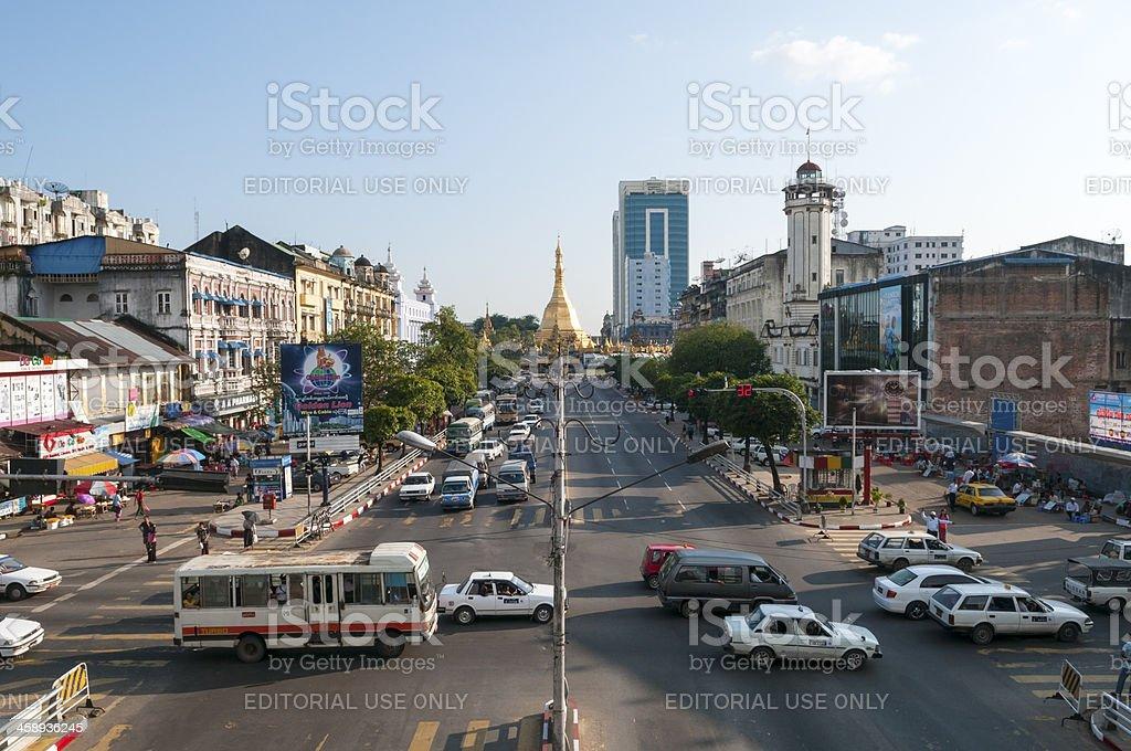 Downtown Yangon and Sule Pagoda royalty-free stock photo