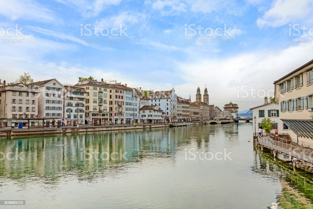 Downtown Zurich, Limmatquai with Grossmunster and town hall stock photo
