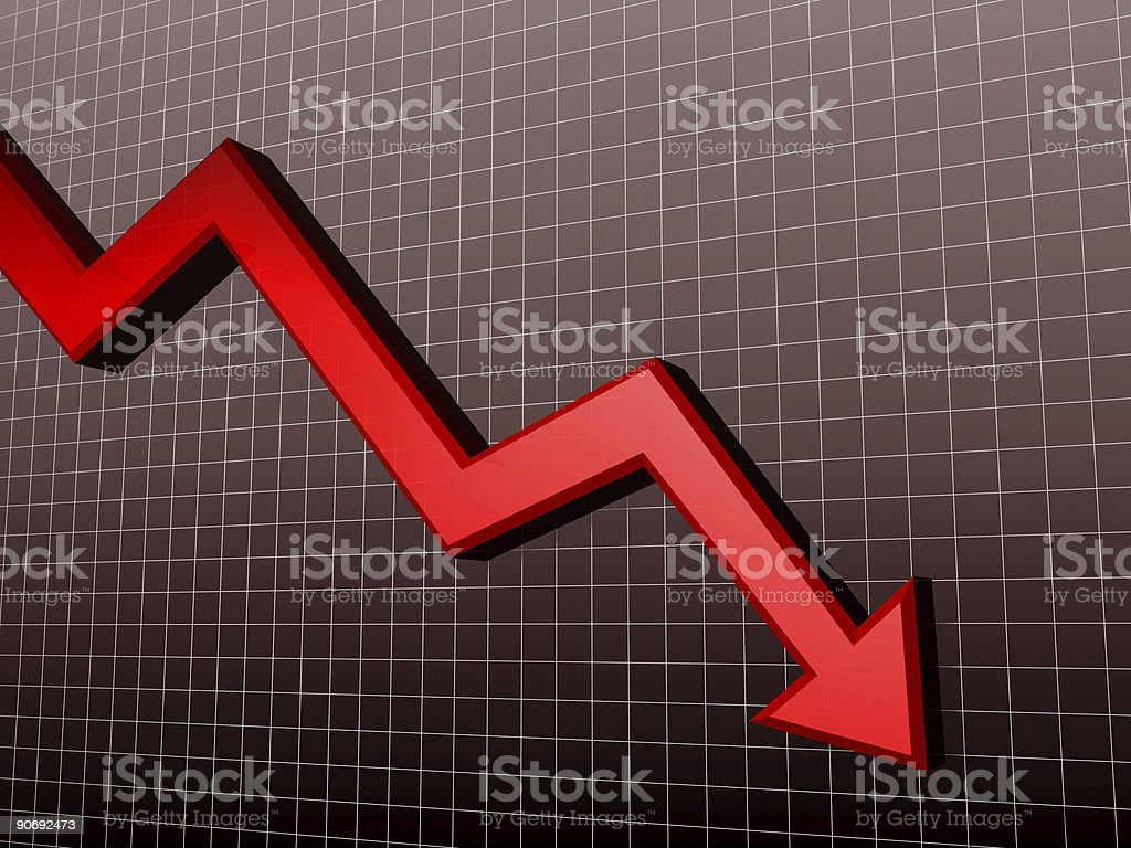 Downtrend Arrow 3D royalty-free stock photo