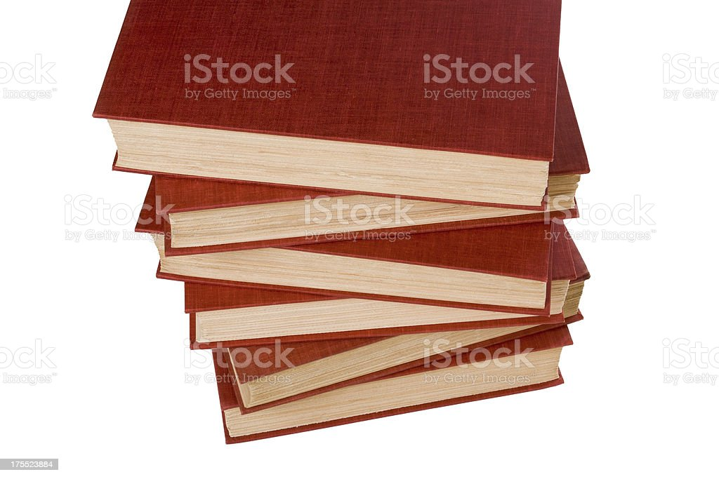 Downward view, crooked stack of six red hardcover books royalty-free stock photo