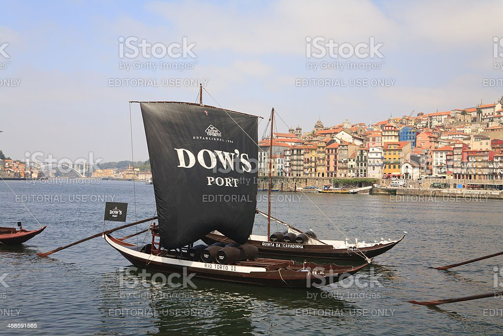 Dow's Rabelo Boat in Douro River stock photo