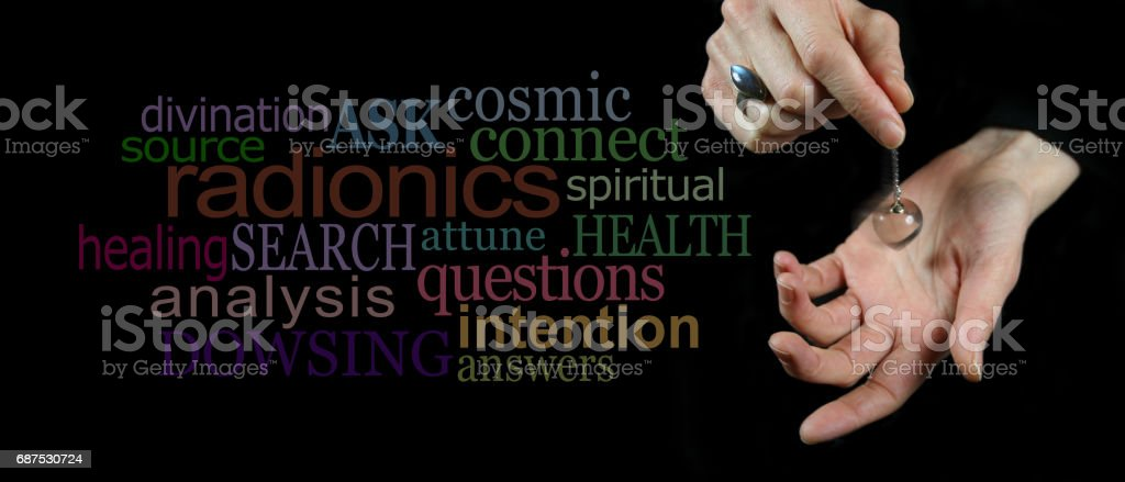 Dowsing with a crystal pendulum Word Cloud stock photo