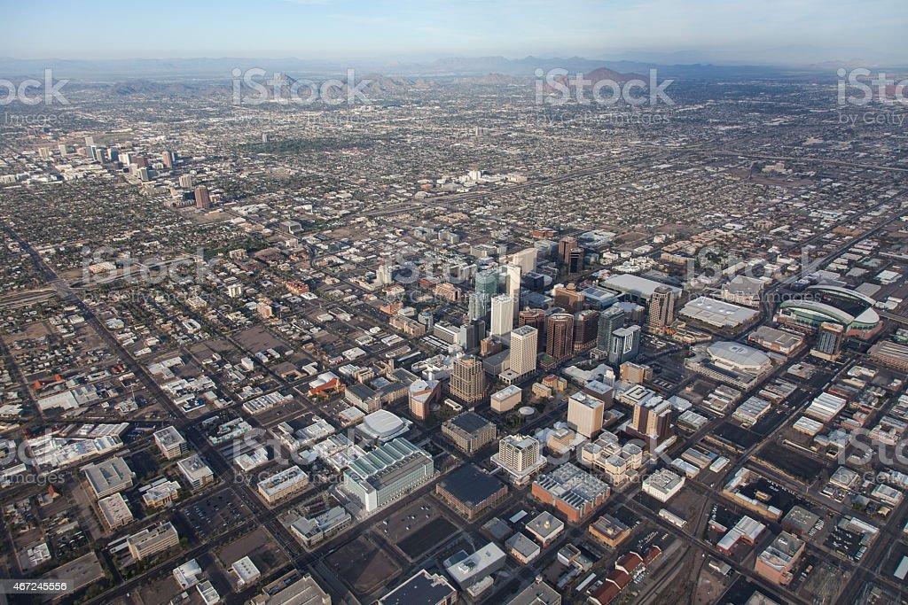 Dowtown Phoenix in Arizona aerial view stock photo