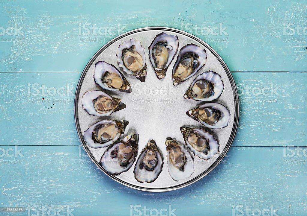 dozen fresh oysters stock photo