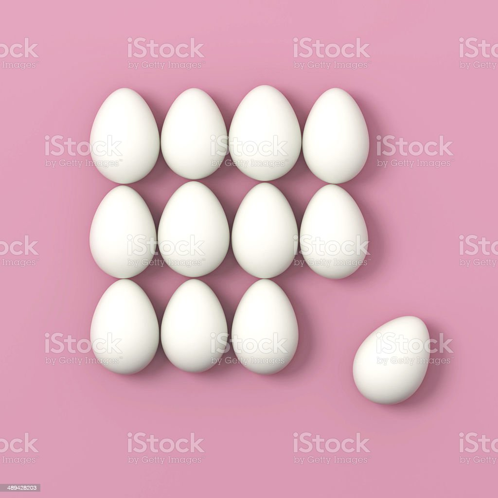 Dozen of eggs on pink background stock photo