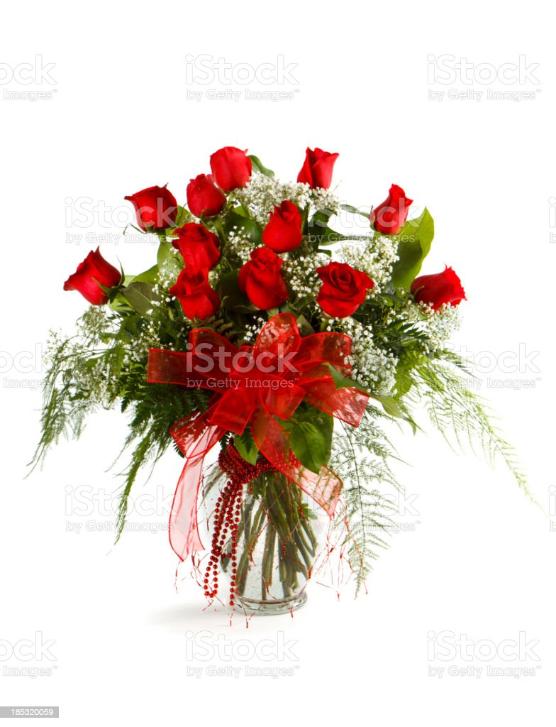 Dozen Red Roses Arrangement On White stock photo