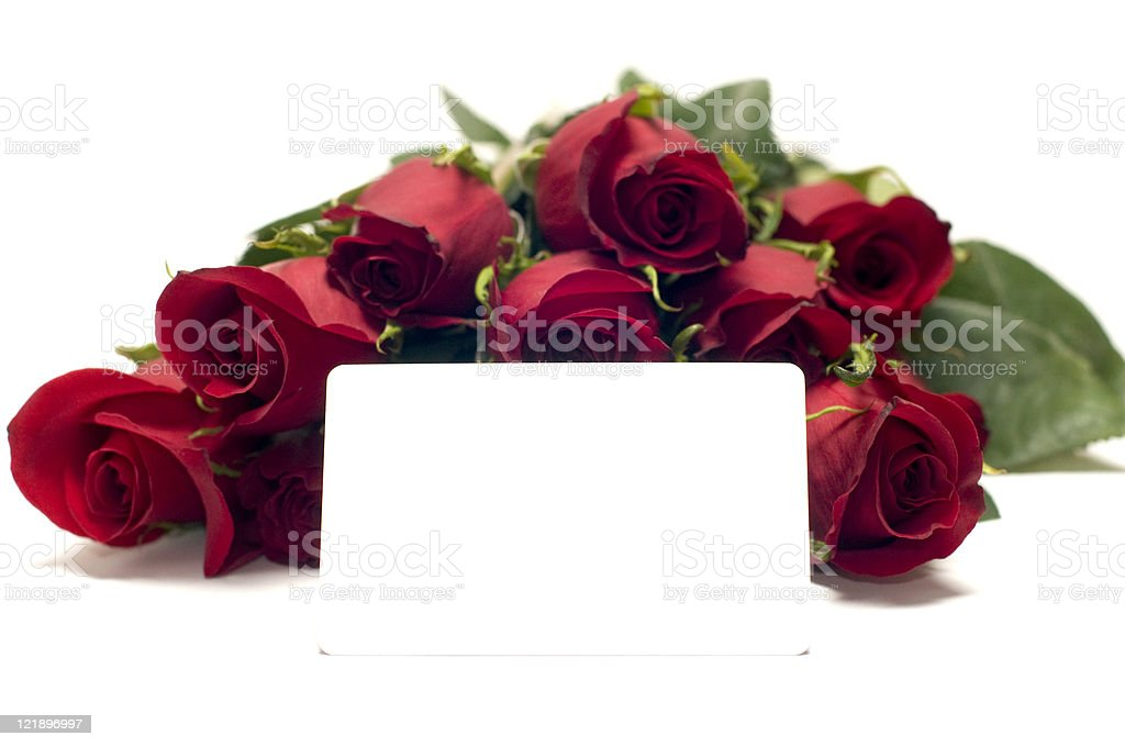 Dozen Red Roses Isolated on White with Blank Gift Card royalty-free stock photo