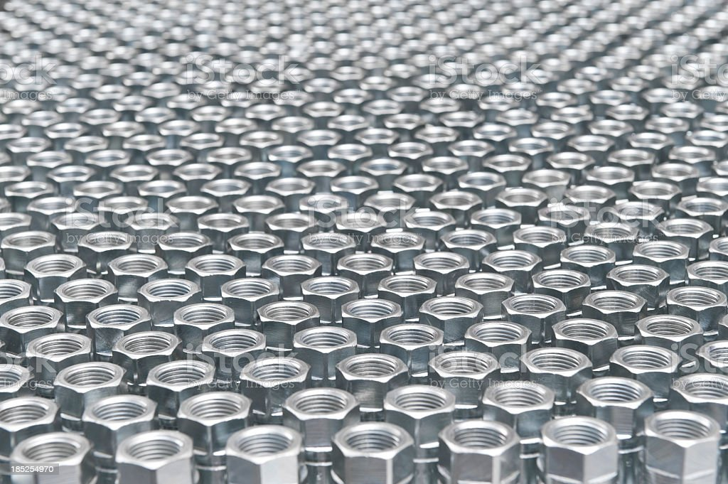 Dozens of silver nuts lined up in rows stock photo