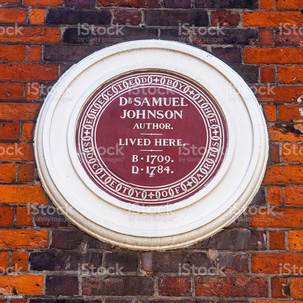 Dr Samuel Johnson Plaque in London stock photo