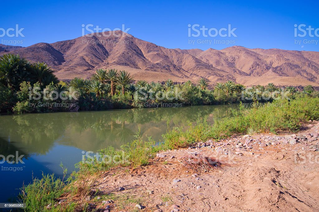Draa river in Morocco stock photo