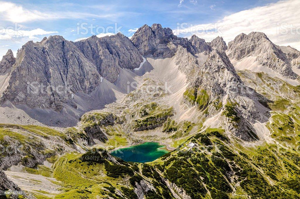 Drachensee lake and Grünstein mountain  - Tyrol, Austria stock photo