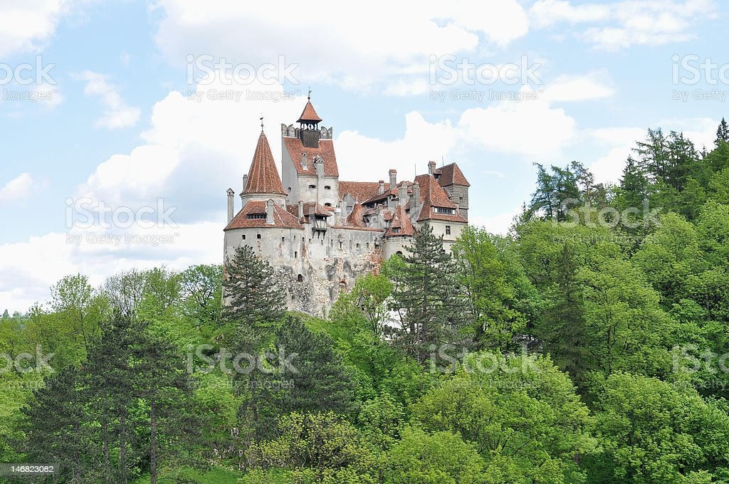 Dracula's Bran Castle in spring season . stock photo