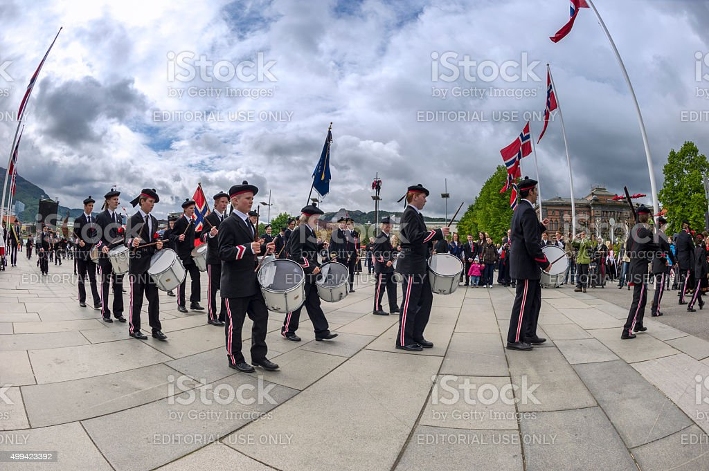 Draeggens Buekorps marching in the Constitution Day Parade in Bergen stock photo