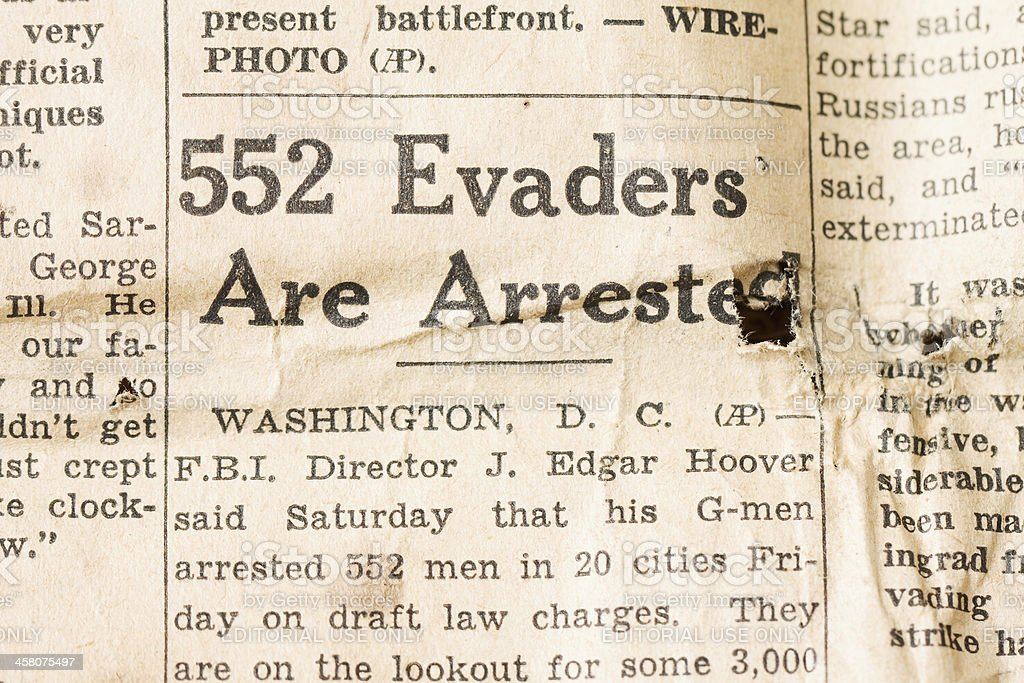 Draft Evaders Arrested - WWII stock photo