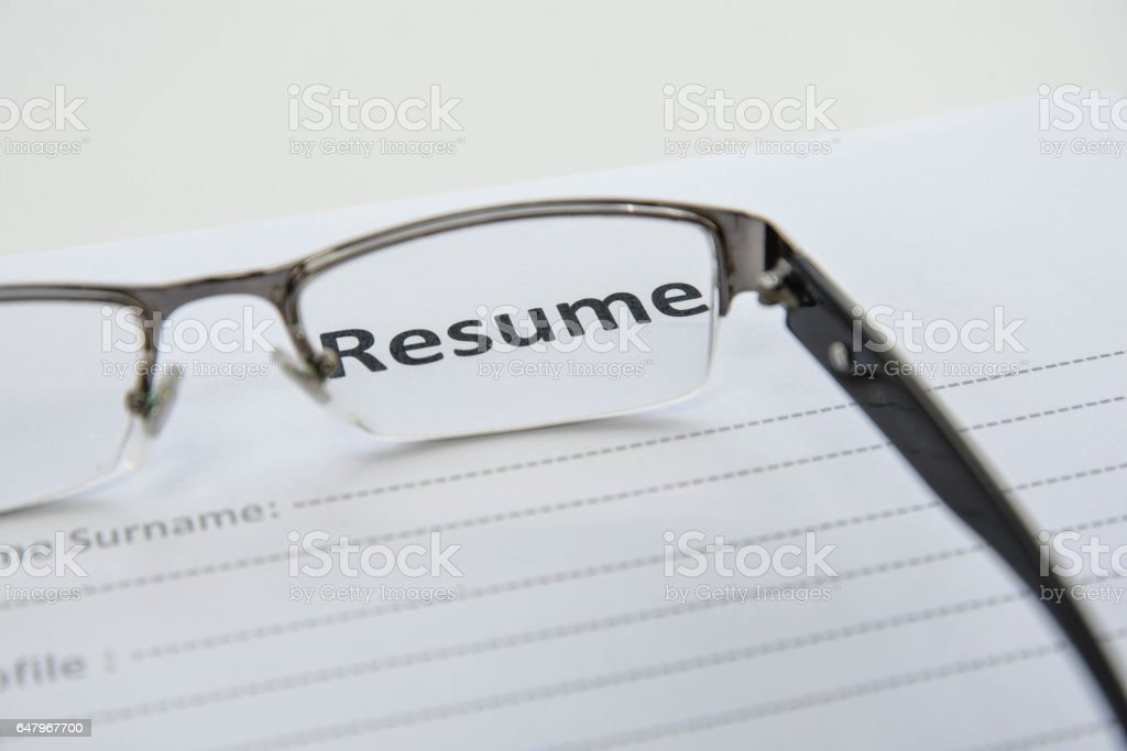 Draft of Resume when Looking through the lens stock photo