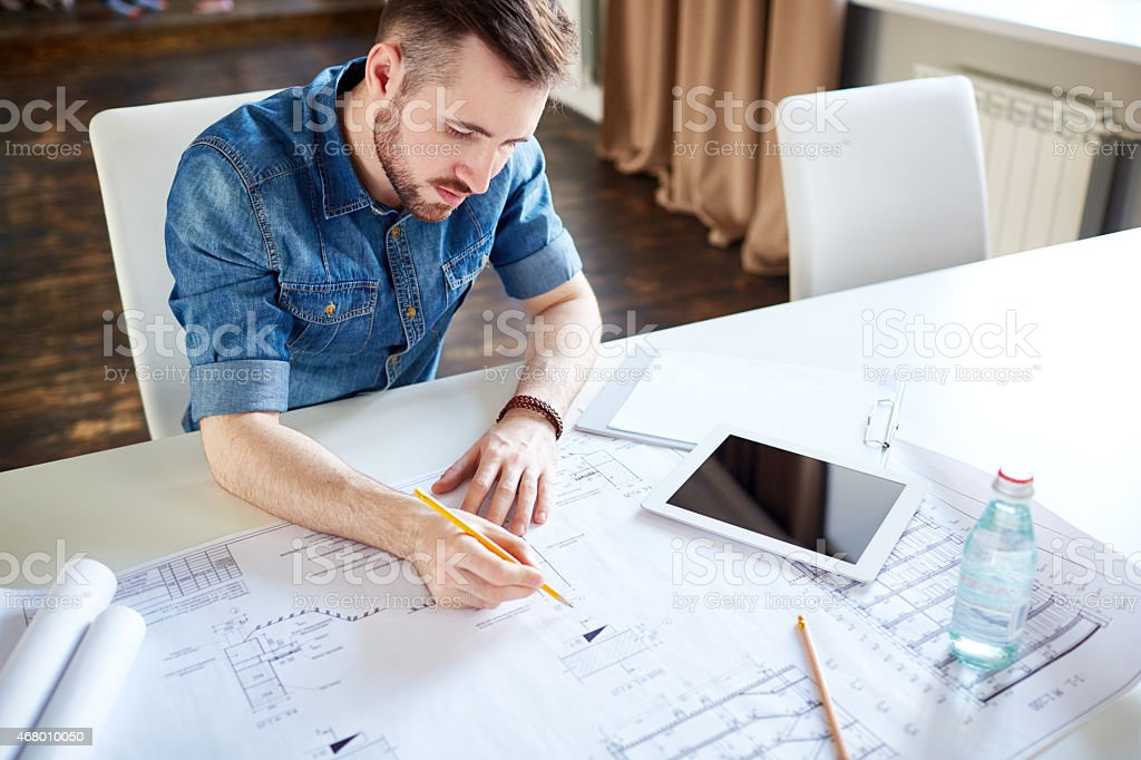 Drafting house plan stock photo