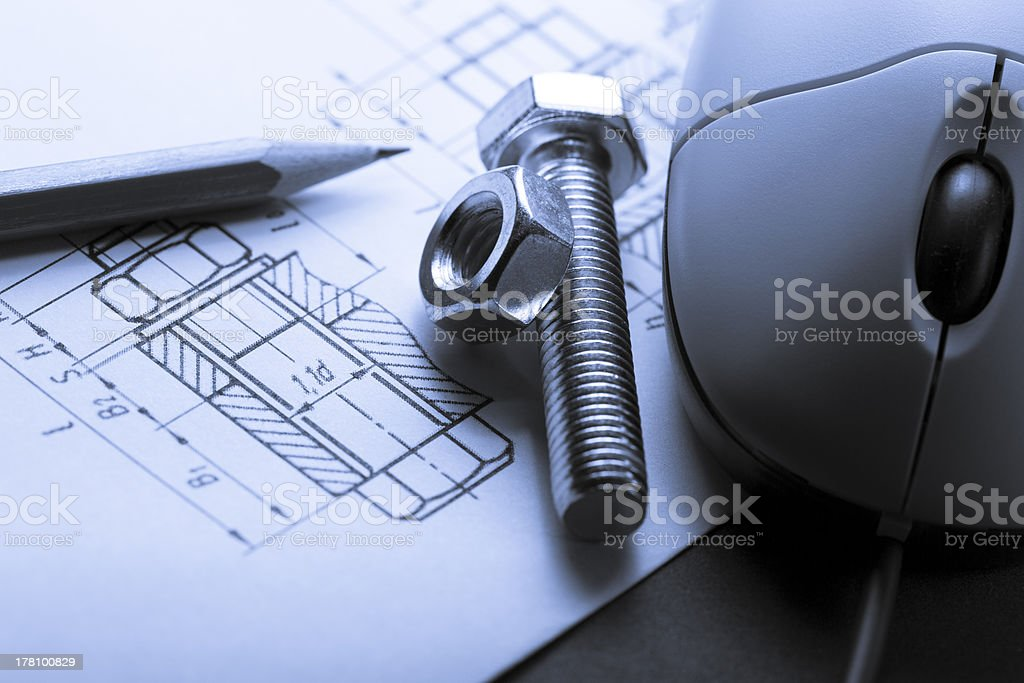 Drafting, mouse and screw bolt with nut royalty-free stock photo