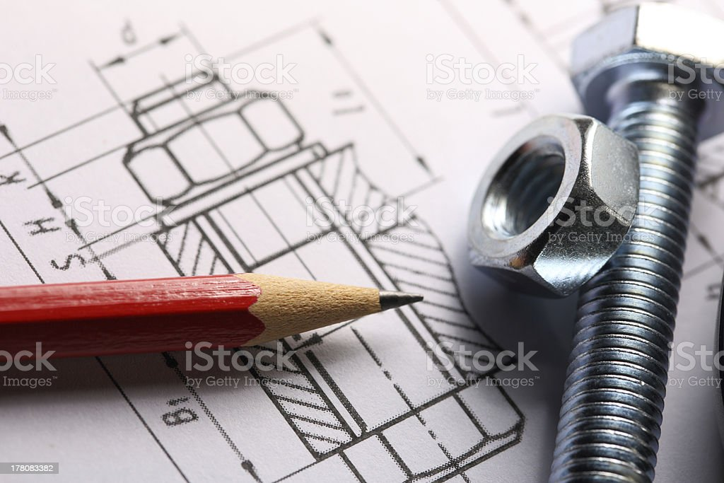 Drafting, screw bolt with nut royalty-free stock photo