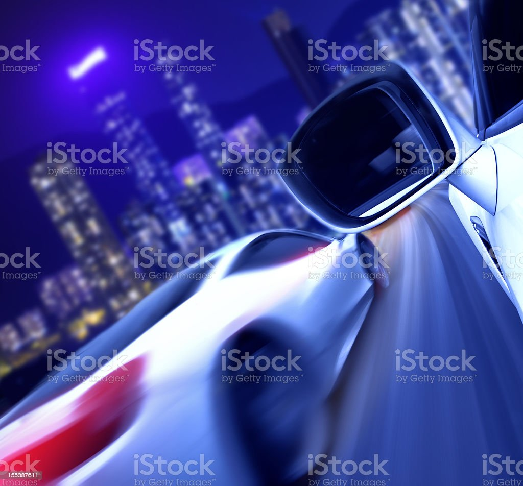 drag racing in downtown royalty-free stock photo