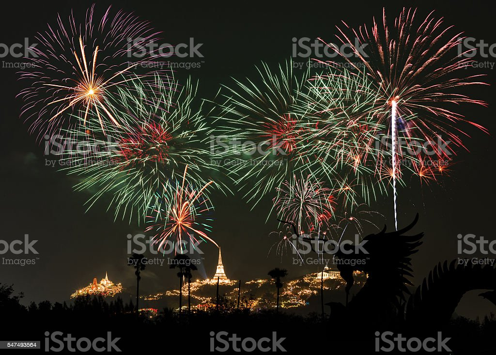 Dragon and Fireworks Festival at Phetchaburi, Thailand stock photo