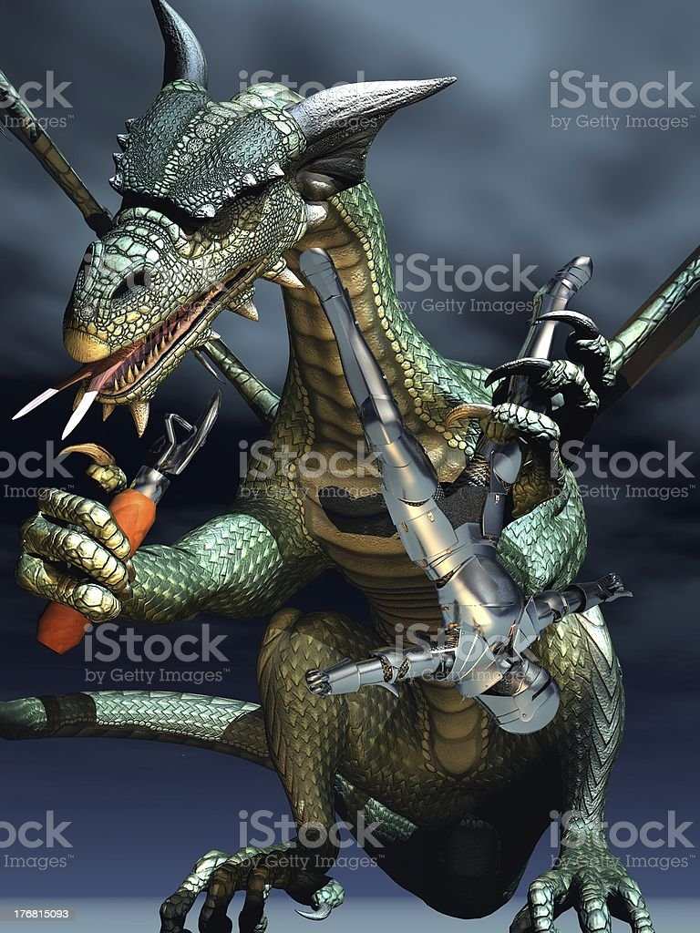 Dragon and knight humour royalty-free stock photo