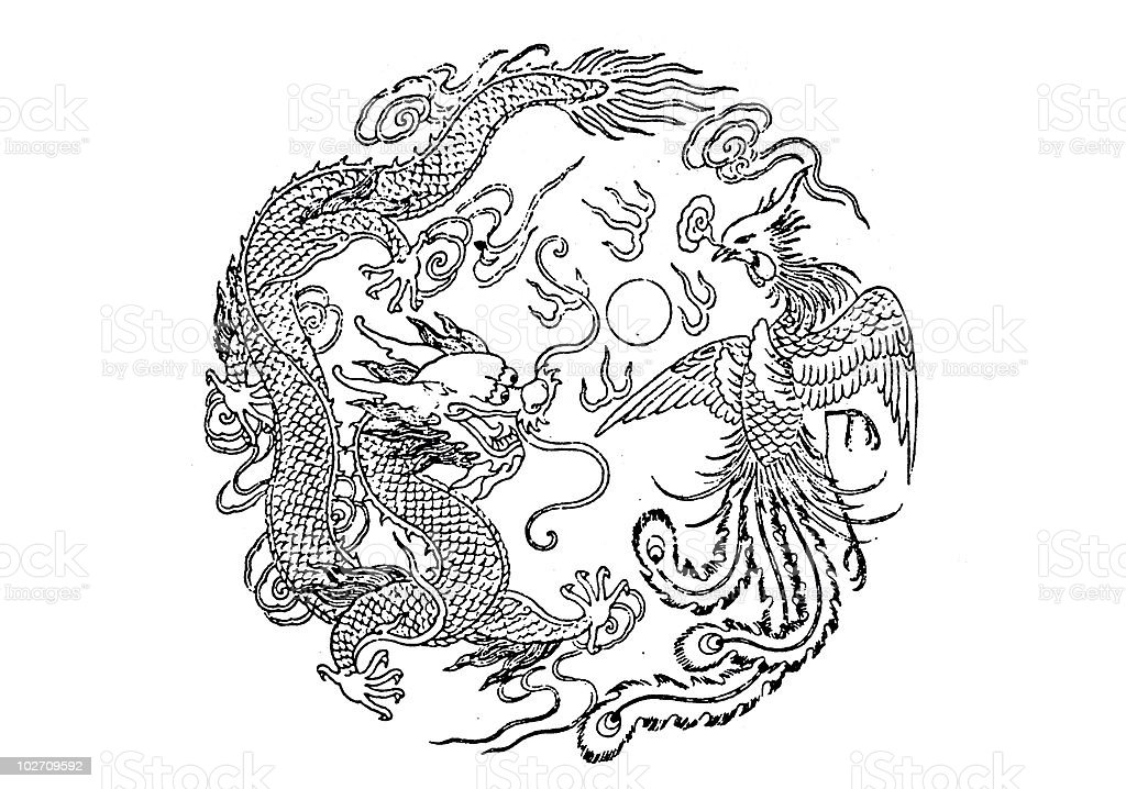 dragon and phoenix stock photo