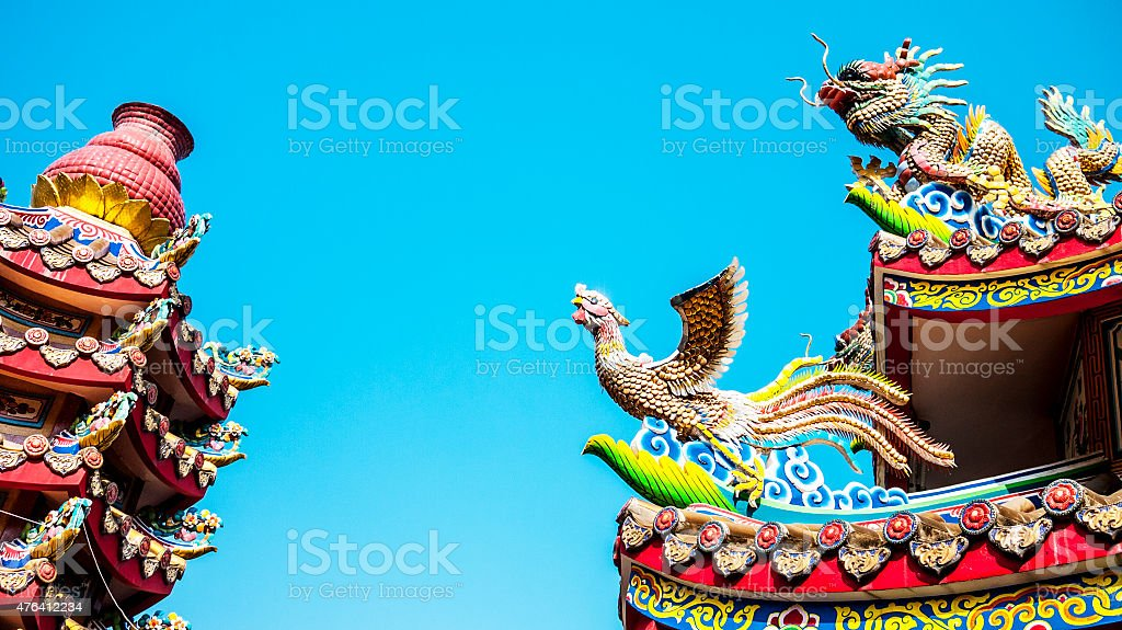 Dragon at a Chinese Buddhist temple. stock photo