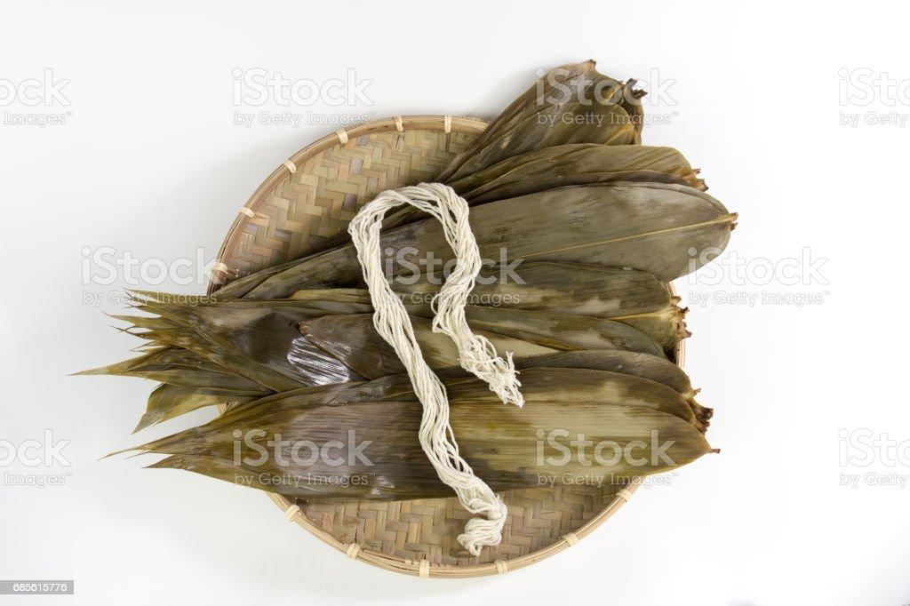 Dragon Boat Festival material Rice dumplings leaves stock photo