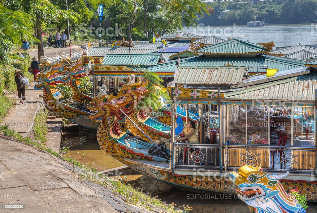 Dragon boat, Hue Vietnam stock photo