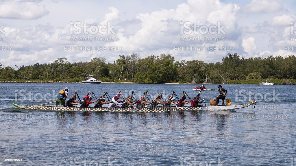 Dragon Boat in Race royalty-free stock photo