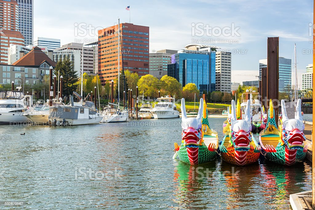 Dragon Boats and Downtown Portland stock photo