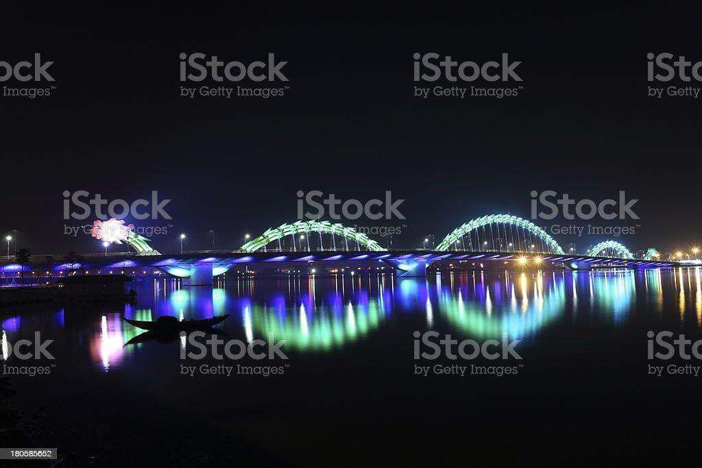 Dragon Bridge across the Han River, Danang, Vietnam stock photo