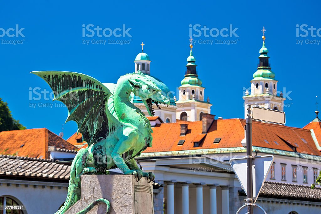Dragon bridge and landmarks of Ljubljana view stock photo