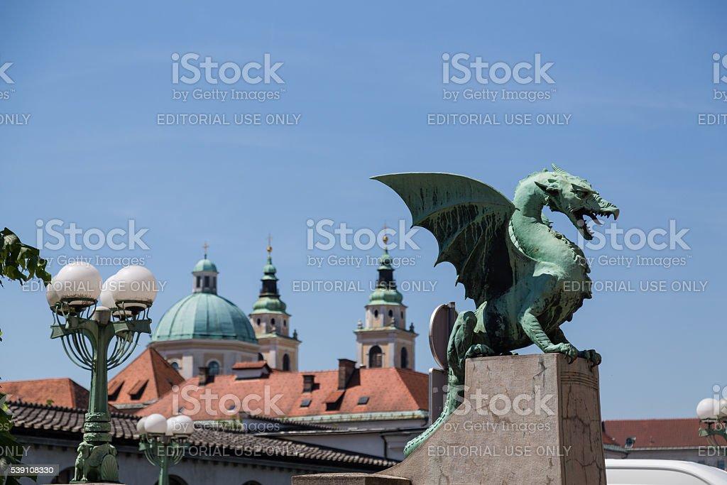Dragon Bridge and other buildings in central Ljubljana stock photo