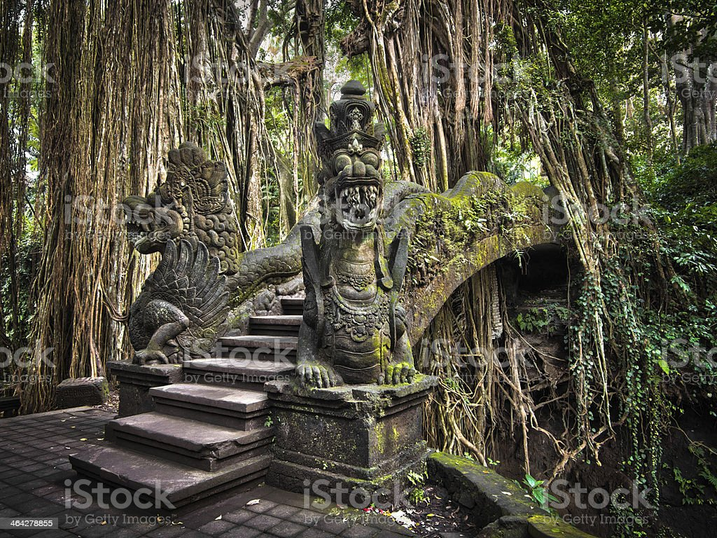 Dragon Bridge at Monkey Forest Sanctuary in Ubud, Bali stock photo